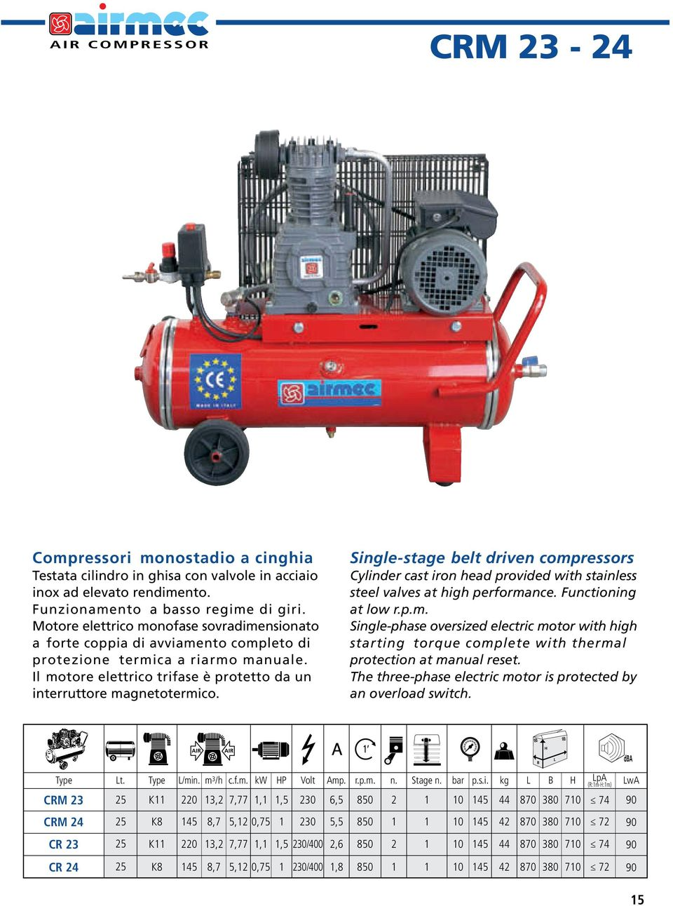 Single-stage belt driven compressors Cylinder cast iron head provided with stainless steel valves at high performance. Functioning at low r.p.m. Single-phase oversized electric motor with high starting torque complete with thermal protection at manual reset.