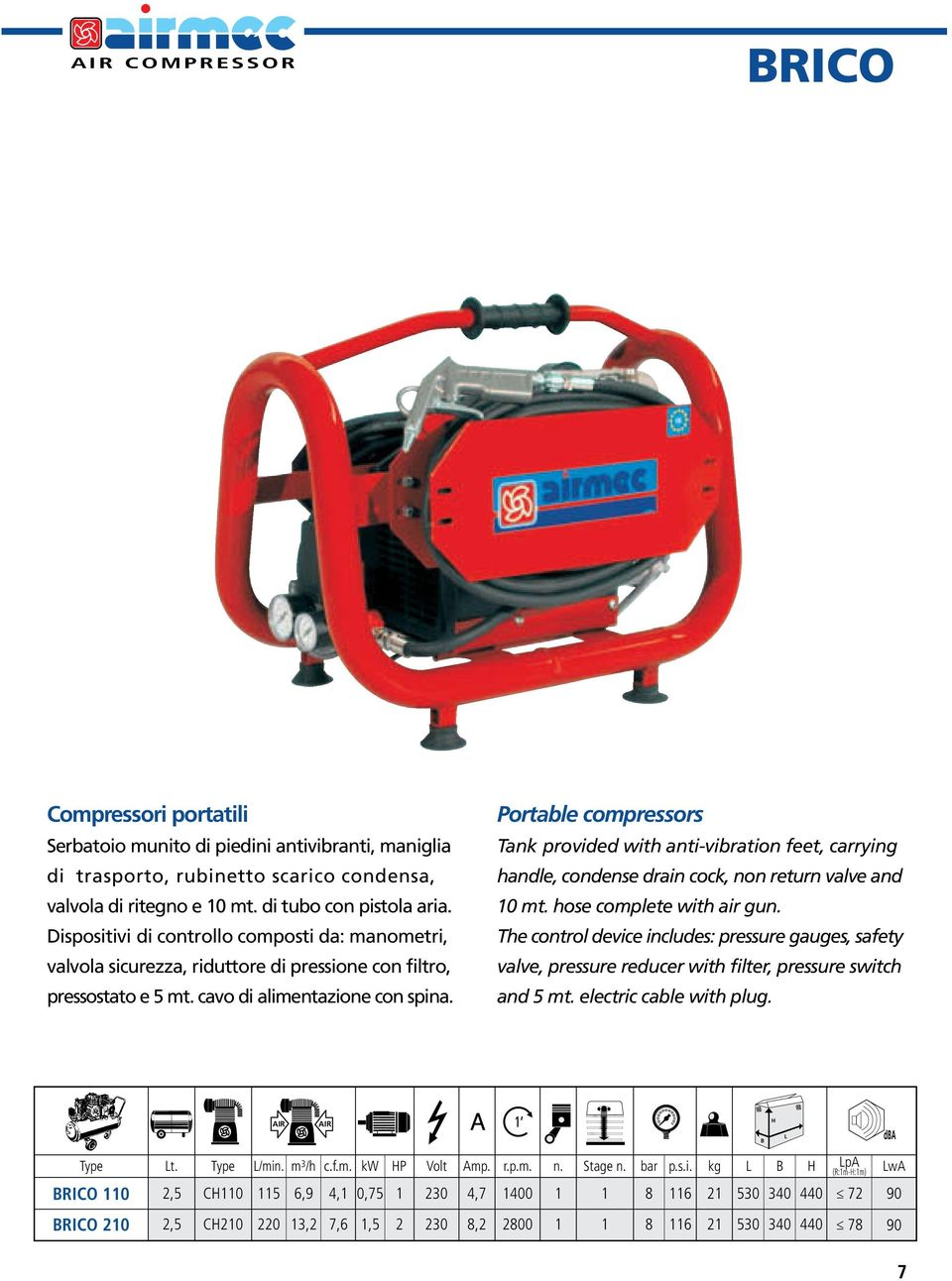 Portable compressors Tank provided with anti-vibration feet, carrying handle, condense drain cock, non return valve and 10 mt. hose complete with air gun.