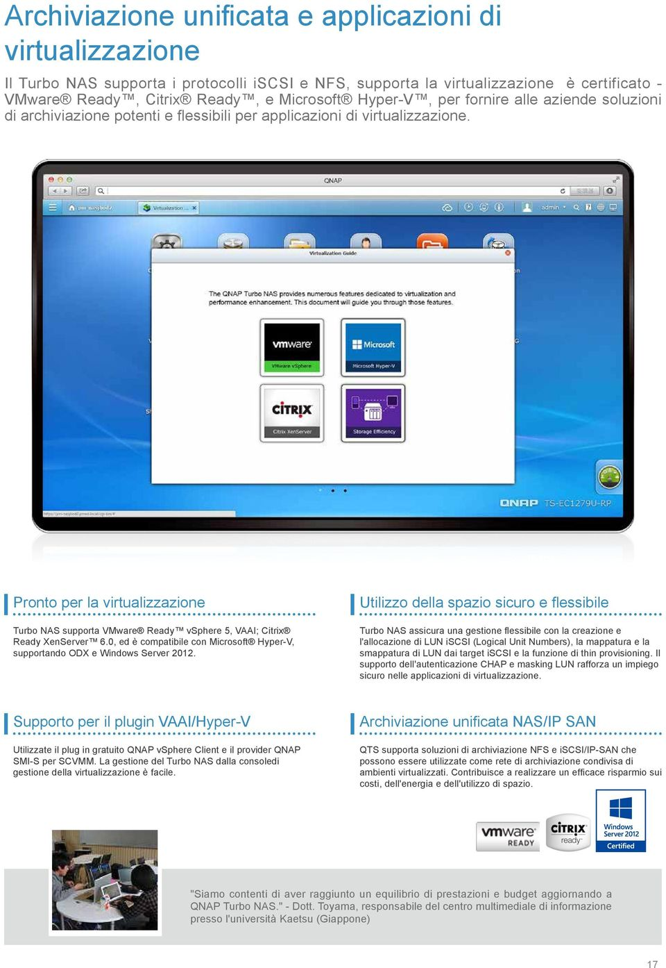 Pronto per la virtualizzazione Turbo NAS supporta VMware Ready vsphere 5, VAAI; Citrix Ready XenServer 6.0, ed è compatibile con Microsoft Hyper-V, supportando ODX e Windows Server 2012.