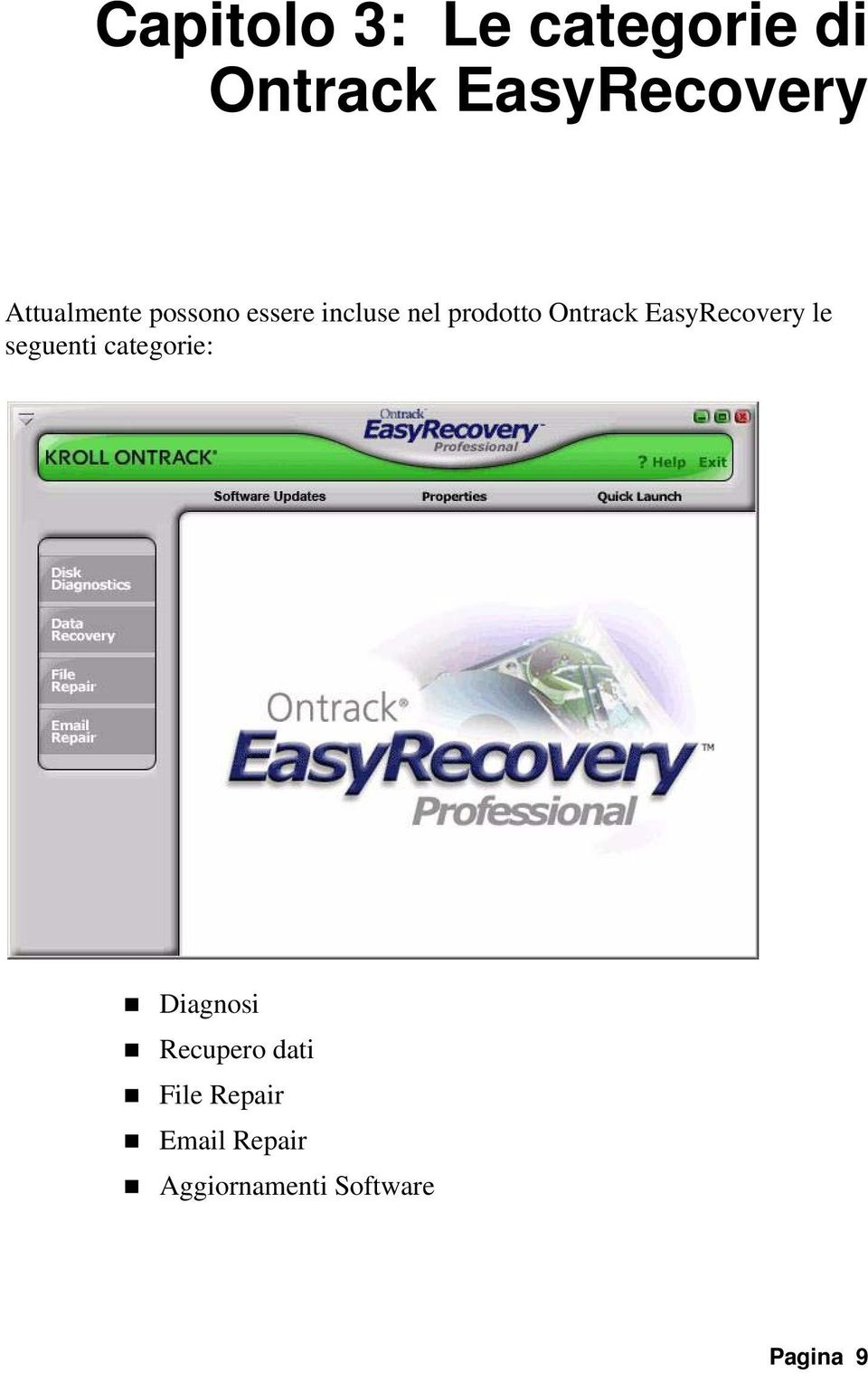 Ontrack EasyRecovery le seguenti categorie: Diagnosi