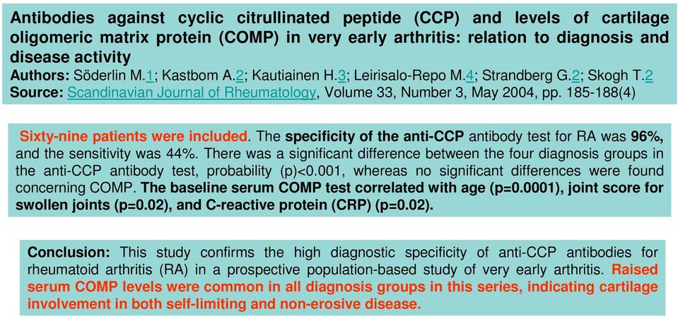 185-188(4) Sixty-nine patients were included. The specificity of the anti-ccp antibody test for RA was 96%, and the sensitivity was 44%.