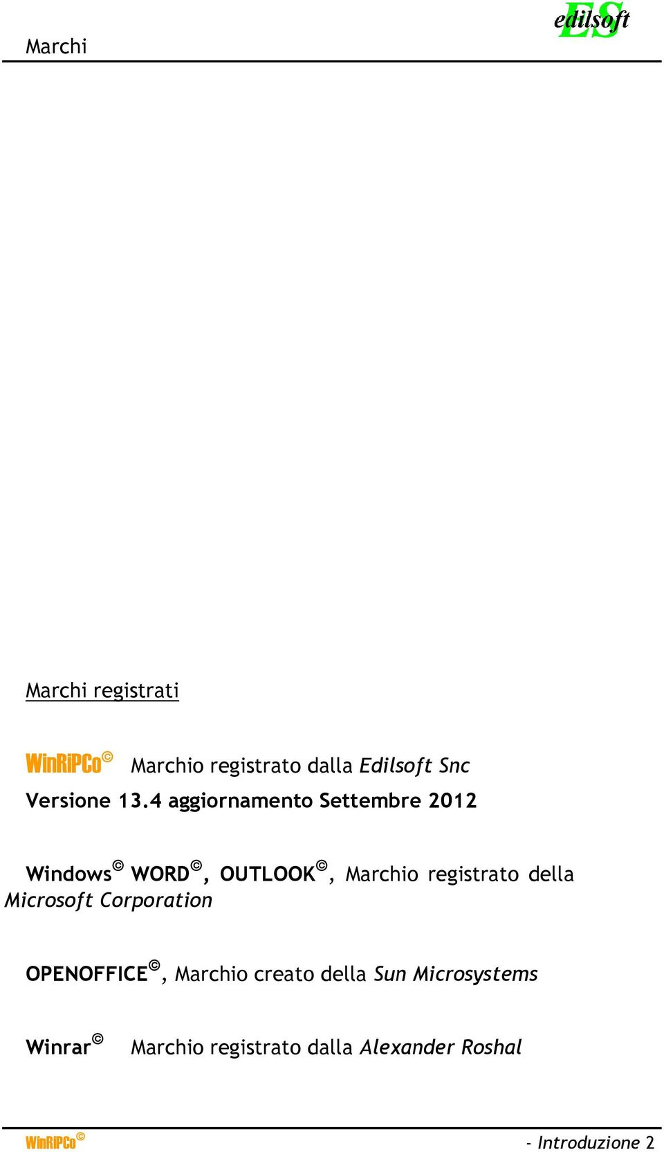 4 aggiornamento Settembre 2012 Windows WORD, OUTLOOK, Marchio registrato