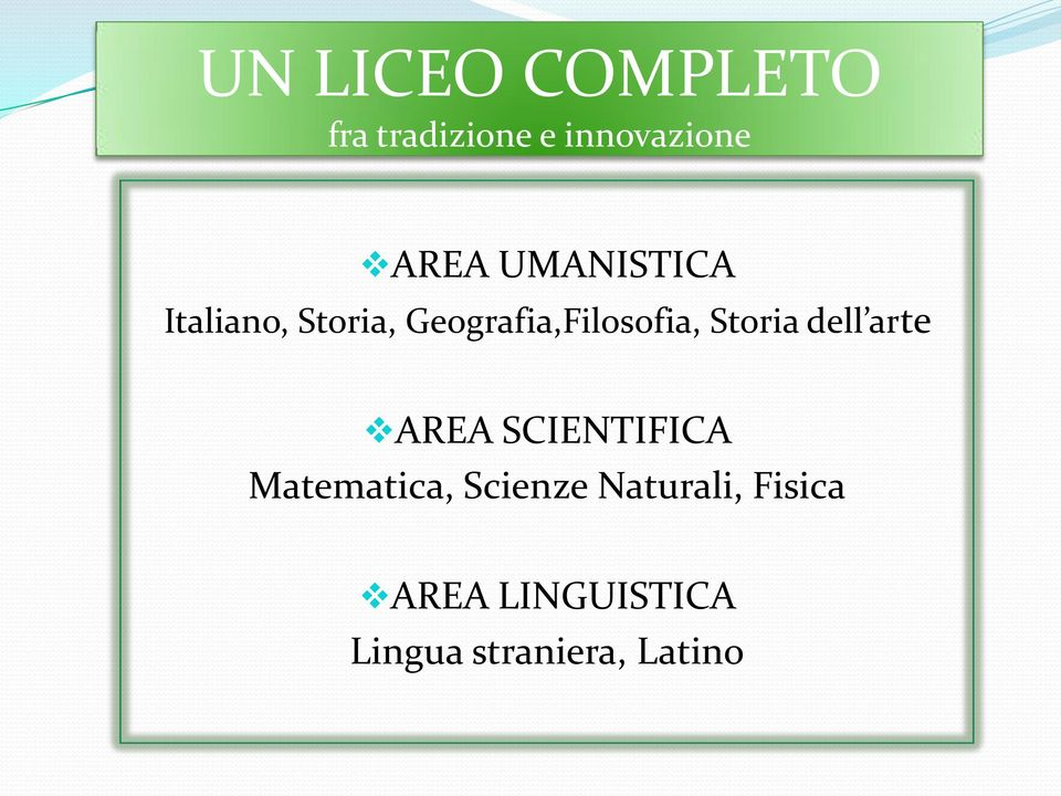 Storia dell arte AREA SCIENTIFICA Matematica, Scienze