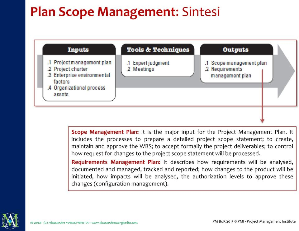 deliverables; to control how request for changes to the project scope statement will be processed.