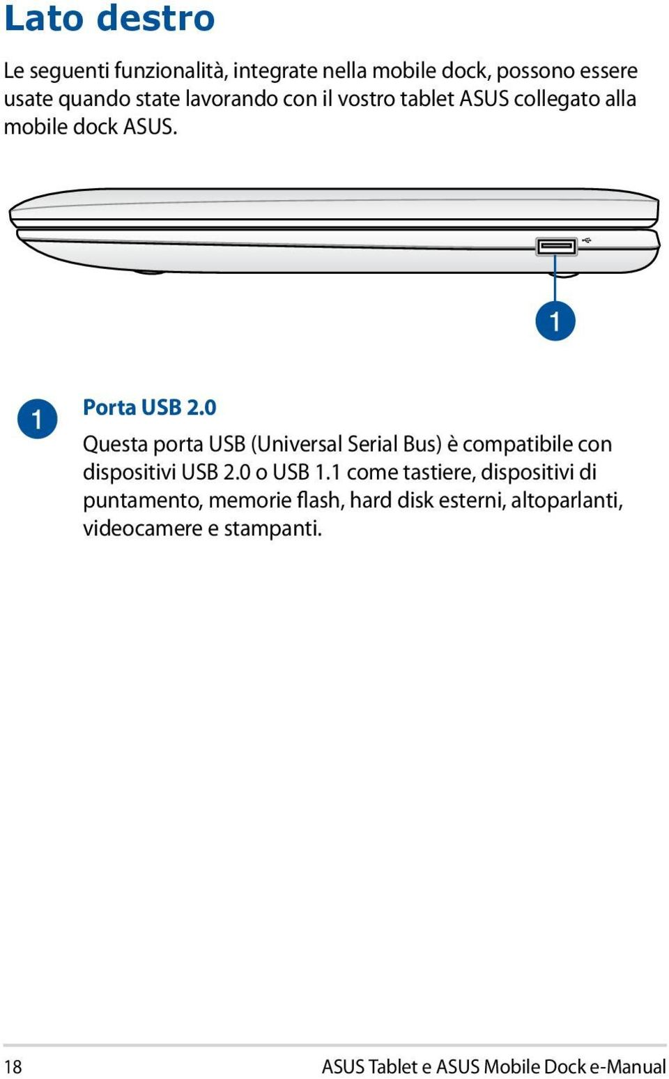 0 Questa porta USB (Universal Serial Bus) è compatibile con dispositivi USB 2.0 o USB 1.
