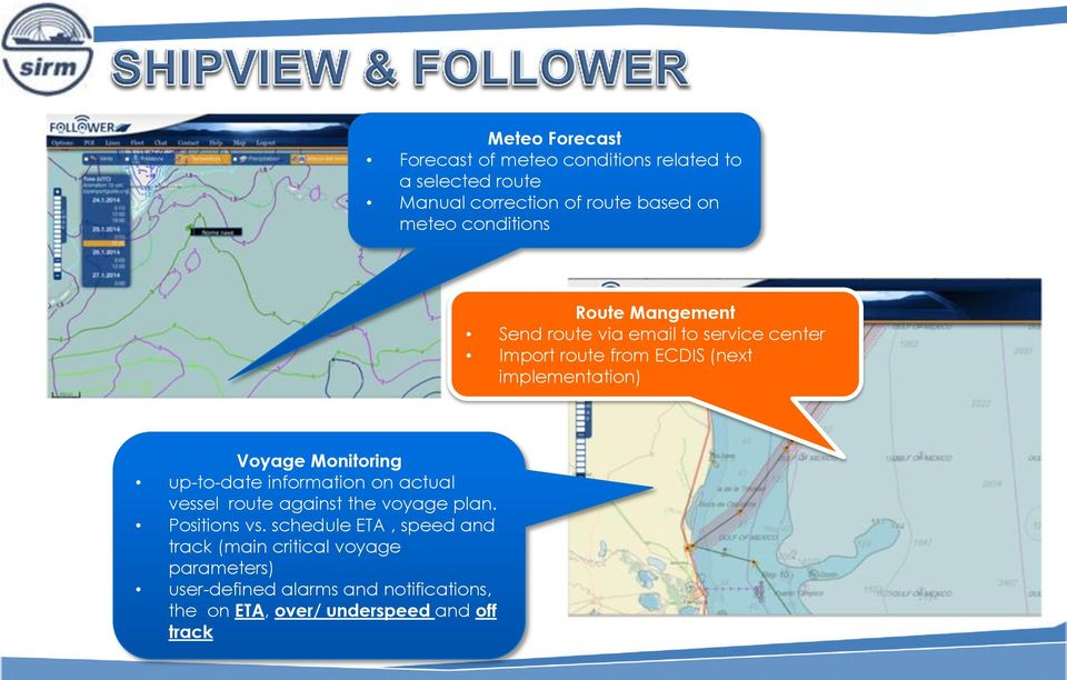 Monitoring up-to-date information on actual vessel route against the voyage plan. Positions vs.