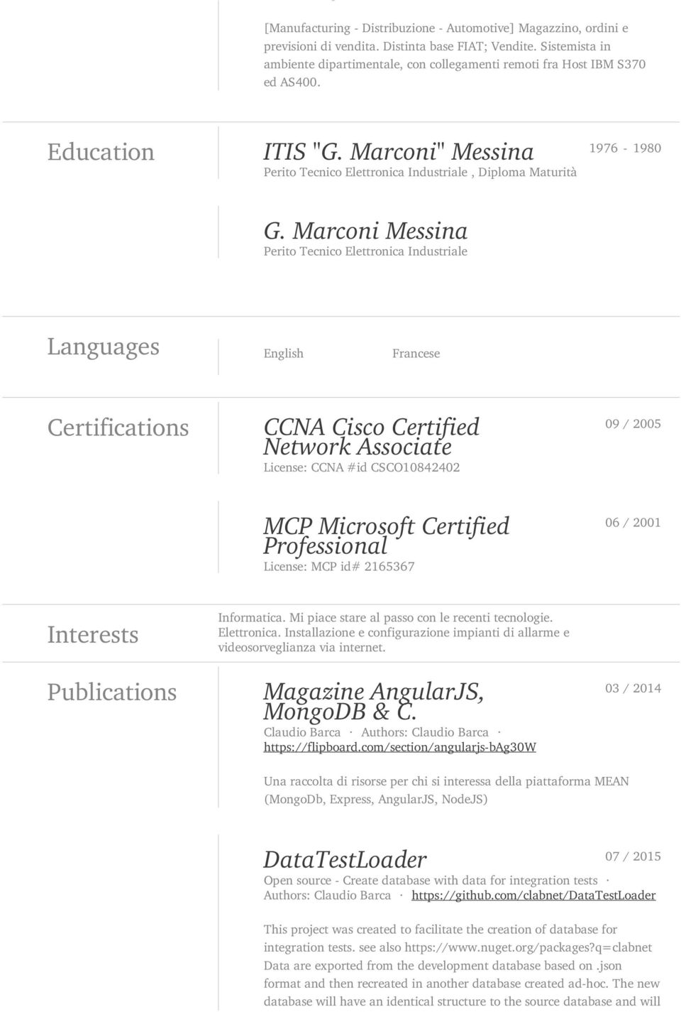 Marconi Messina Perito Tecnico Elettronica Industriale Languages English Francese Certifications CCNA Cisco Certified Network Associate License: CCNA #id CSCO10842402 09 / 2005 MCP Microsoft