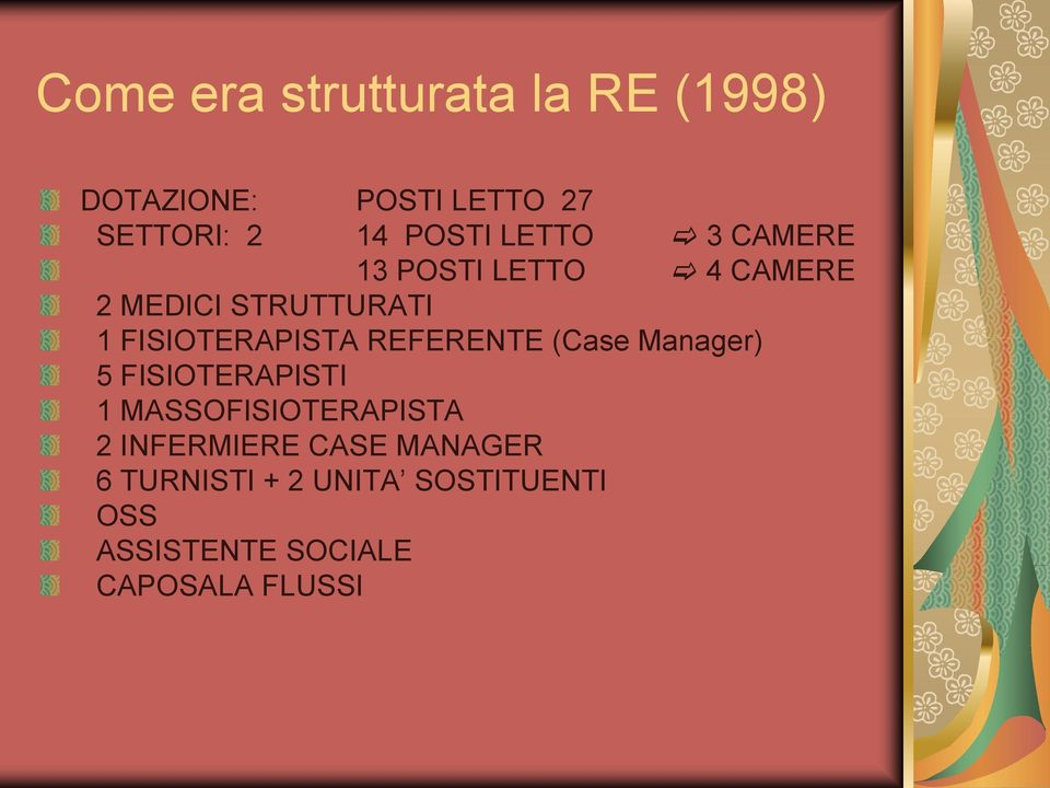 REFERENTE (Case Manager) 5 FISIOTERAPISTI 1 MASSOFISIOTERAPISTA 2 INFERMIERE