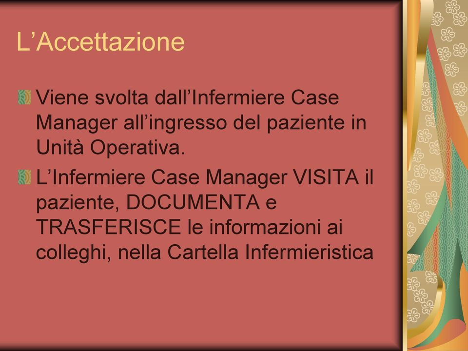 L Infermiere Case Manager VISITA il paziente, DOCUMENTA e