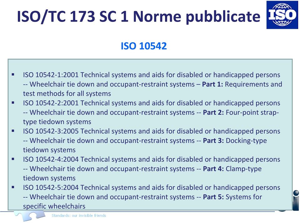 tiedown systems ISO 10542-3:2005 Technical systems and aids for disabled or handicapped persons --Wheelchair tie down and occupant-restraint systems --Part 3: Docking-type tiedown systems ISO