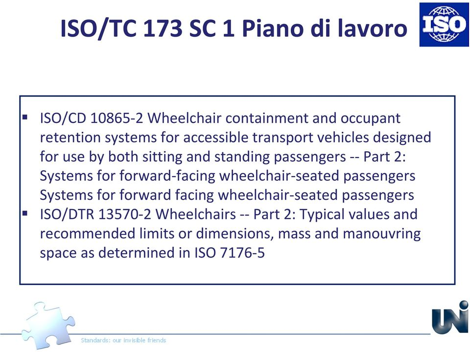 forward-facing wheelchair-seated passengers Systems for forward facing wheelchair-seated passengers ISO/DTR