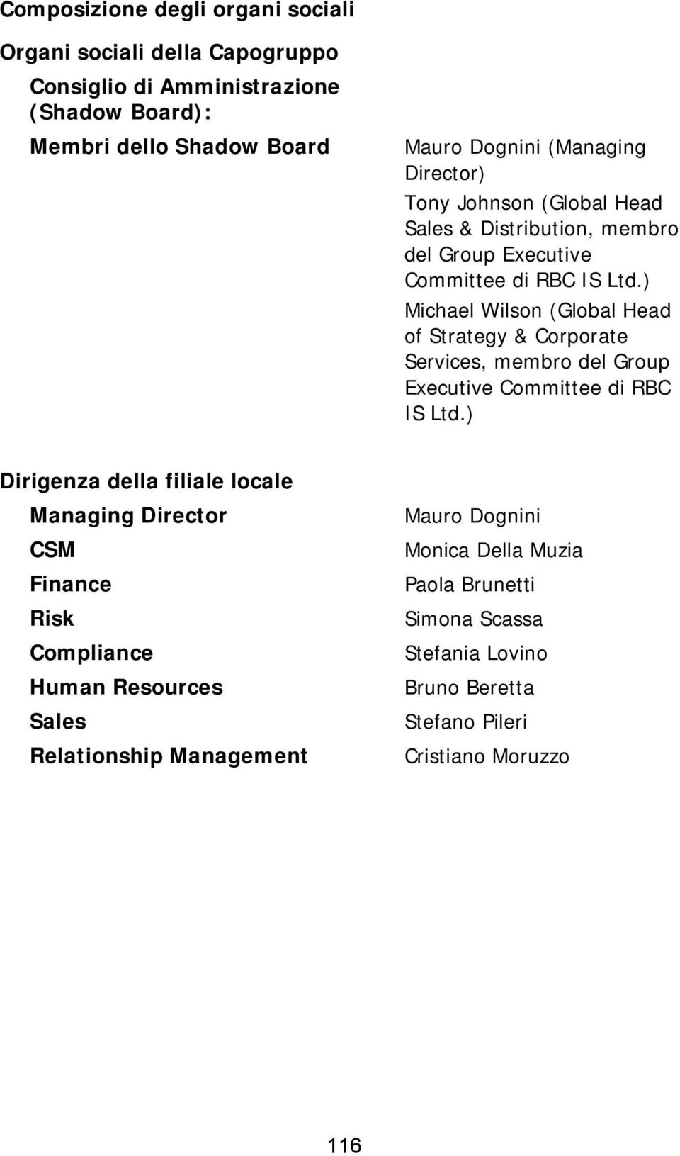 ) Michael Wilson (Global Head of Strategy & Corporate Services, membro del Group Executive Committee di RBC IS Ltd.