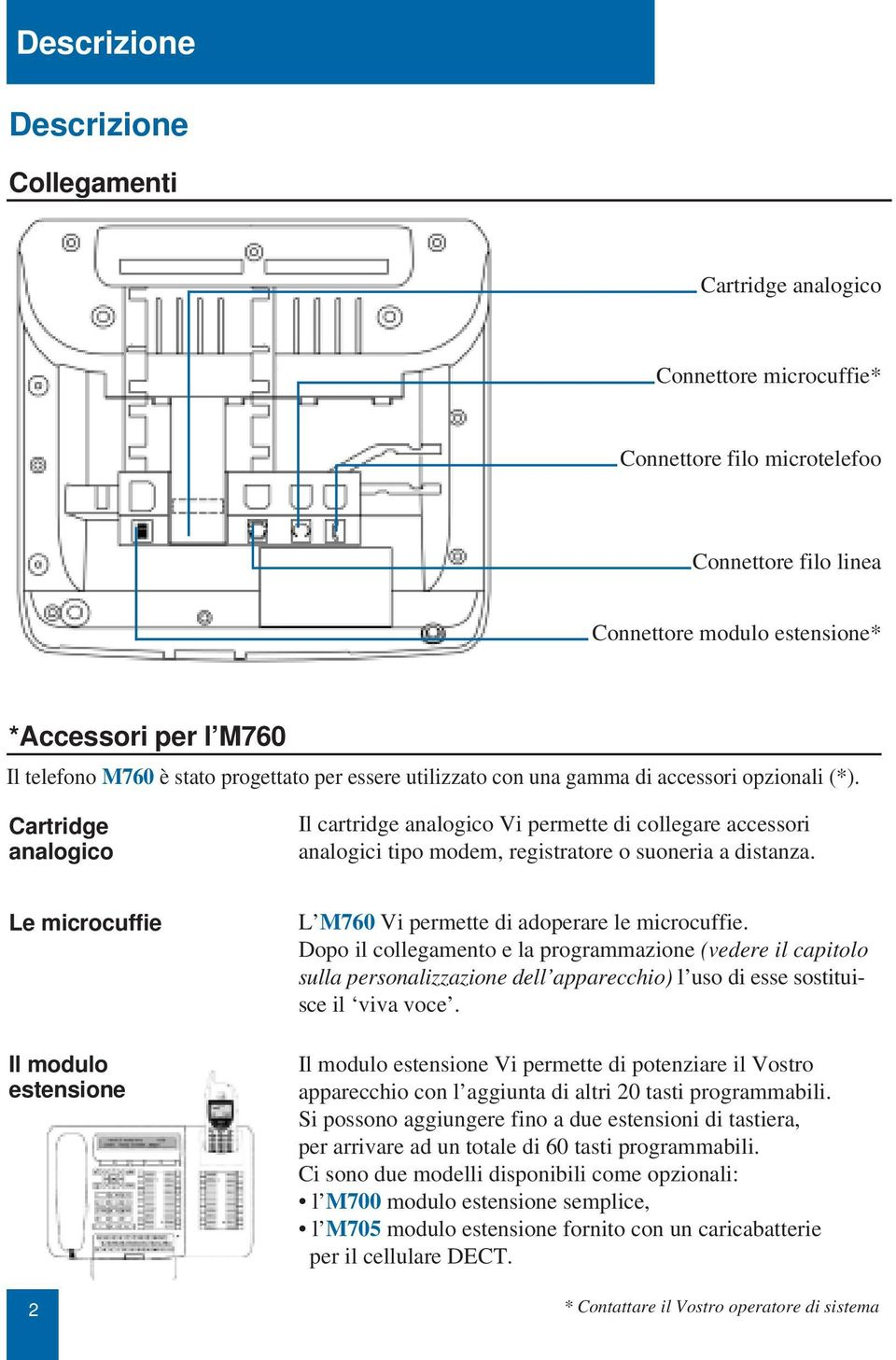 Cartridge analogico Il cartridge analogico Vi permette di collegare accessori analogici tipo modem, registratore o suoneria a distanza.