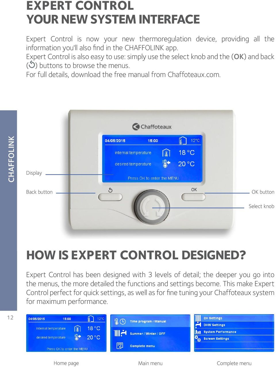 com. Display Back button OK button Select knob HOW IS EXPERT CONTROL DESIGNED?