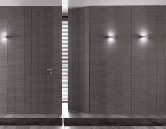 Continuum Dettagli tecnici Technical details Rivestimento muro con anta a battente a tutta altezza. Finitura teak. Wall covering with hinged door up to the ceiling. Teak finish.