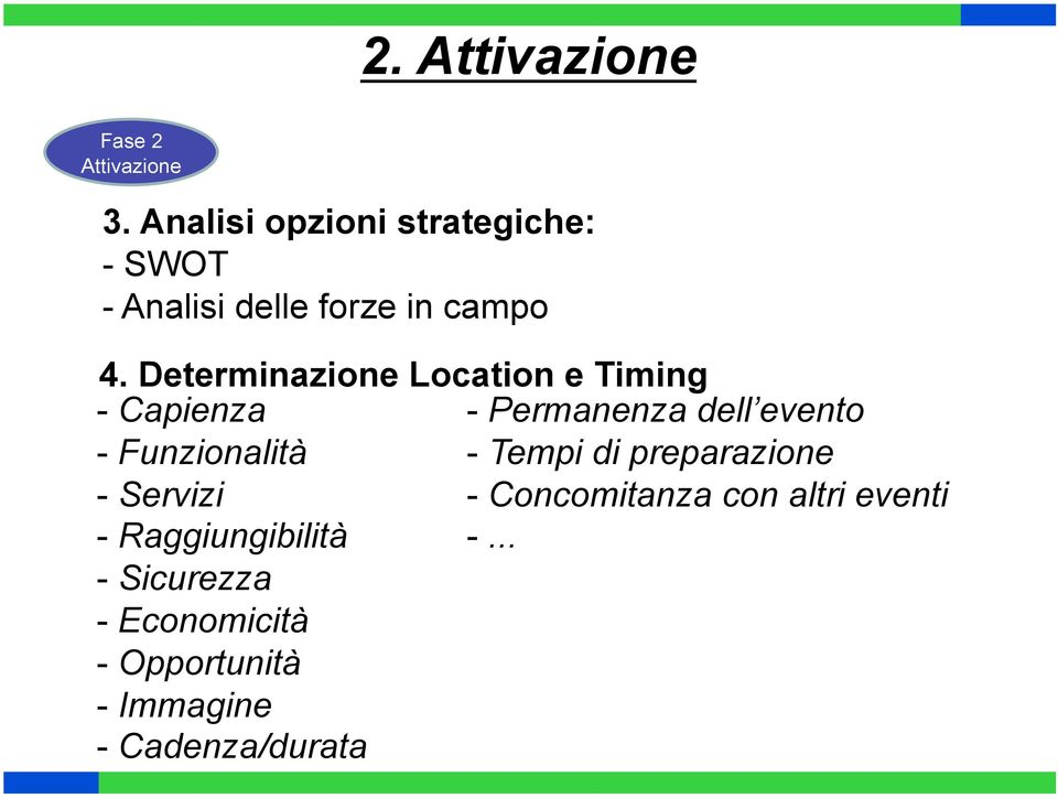 Determinazione Location e Timing - Capienza - Permanenza dell evento - Funzionalità -