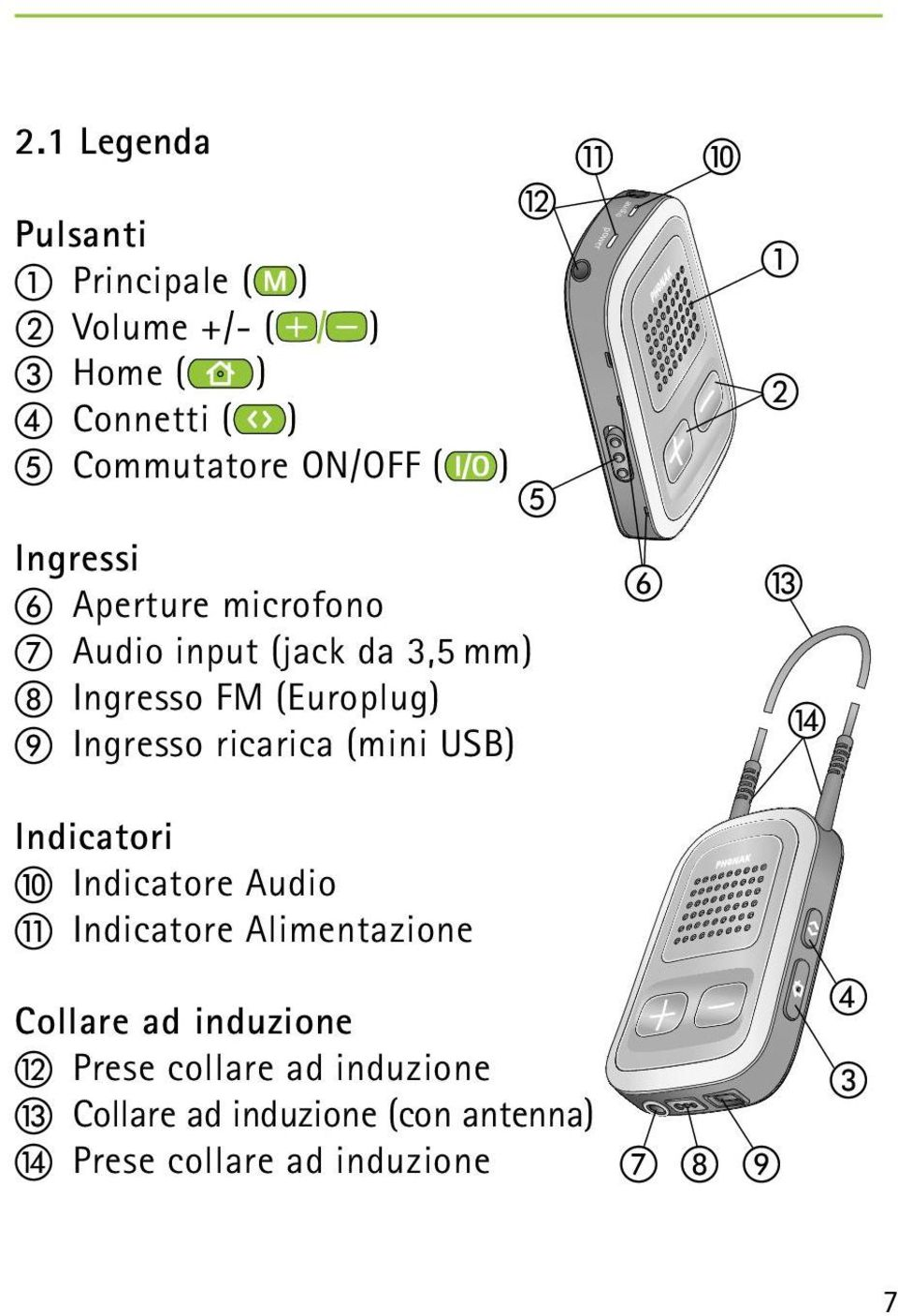 (mini USB) l e k power audio f j a b m n Indicatori j Indicatore Audio k Indicatore Alimentazione Collare ad