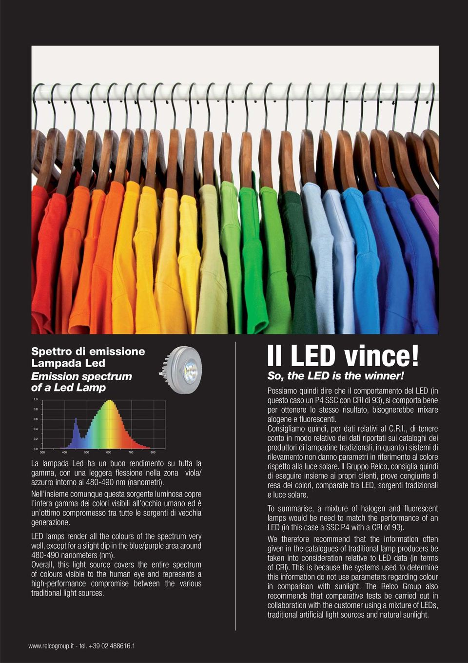 LED lamps render all the colours of the spectrum very well, except for a slight dip in the blue/purple area around 480-490 nanometers (nm).