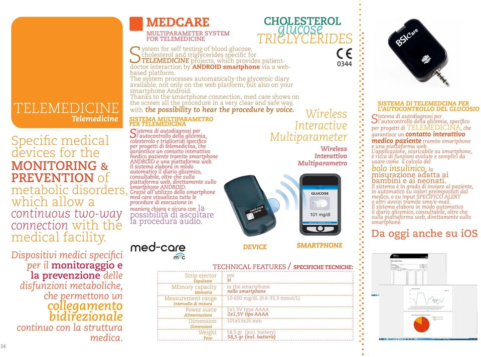 MEDCARE MULTIPARAMETER SYSTEM FOR TELEMEDICINE System for self testing of blood glucose, cholesterol and triglycerides specific for TELEMEDICINE projects, which provides patientdoctor interaction by