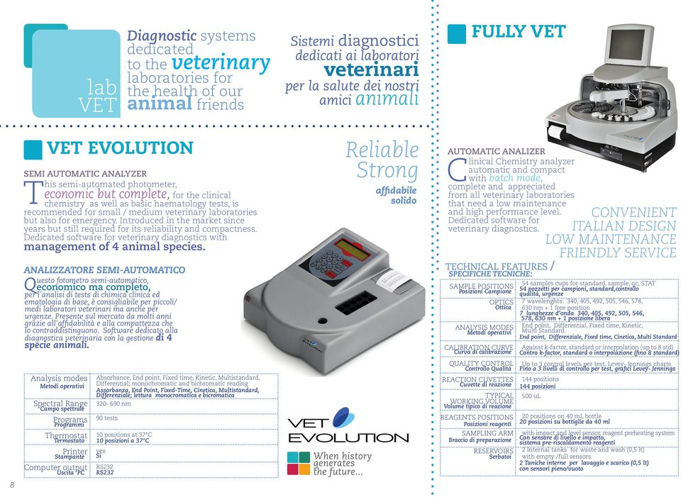 veterinary laboratories but also for emergency. Introduced in the market since years but still required for its reliability and compactness.