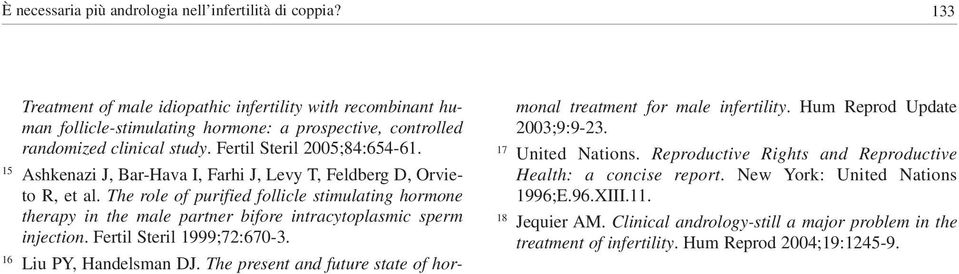 15 Ashkenazi J, Bar-Hava I, Farhi J, Levy T, Feldberg D, Orvieto R, et al. The role of purified follicle stimulating hormone therapy in the male partner bifore intracytoplasmic sperm injection.