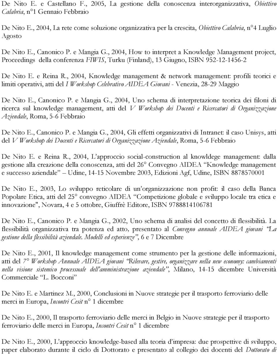 , 2004, How to interpret a Knowledge Management project, Proceedings della conferenza FIWIS, Turku (Finland), 13 Giugno, ISBN 952-12-1456-2 De Nito E. e Reina R.