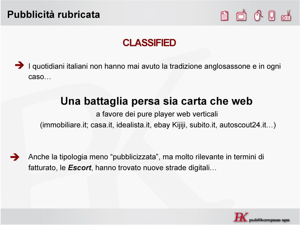 verticali (immobiliare.it; casa.it, idealista.it, ebay Kijiji, subito.it, autoscout24.