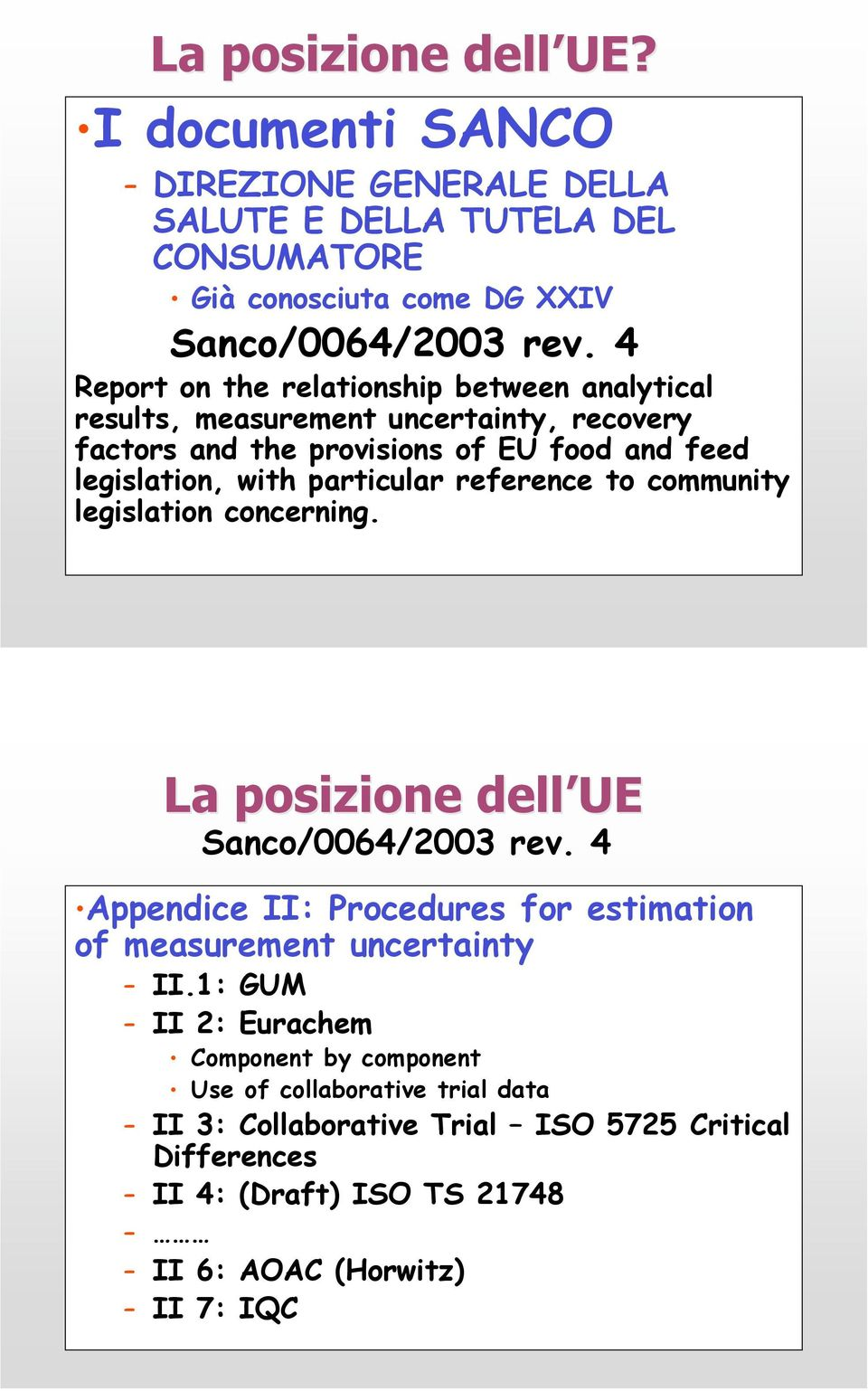 reference to community legislation concerning. La posizione dell UE Sanco/0064/003 rev. 4 Appendice II: Procedures for estimation of measurement uncertainty II.