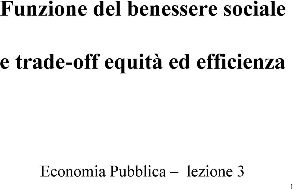 equità ed efficienza