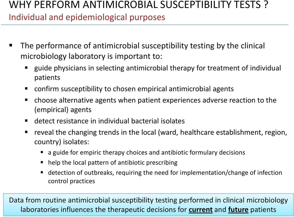 therapy for treatment of individual patients confirm susceptibility to chosen empirical antimicrobial agents choose alternative agents when patient experiences adverse reaction to the (empirical)