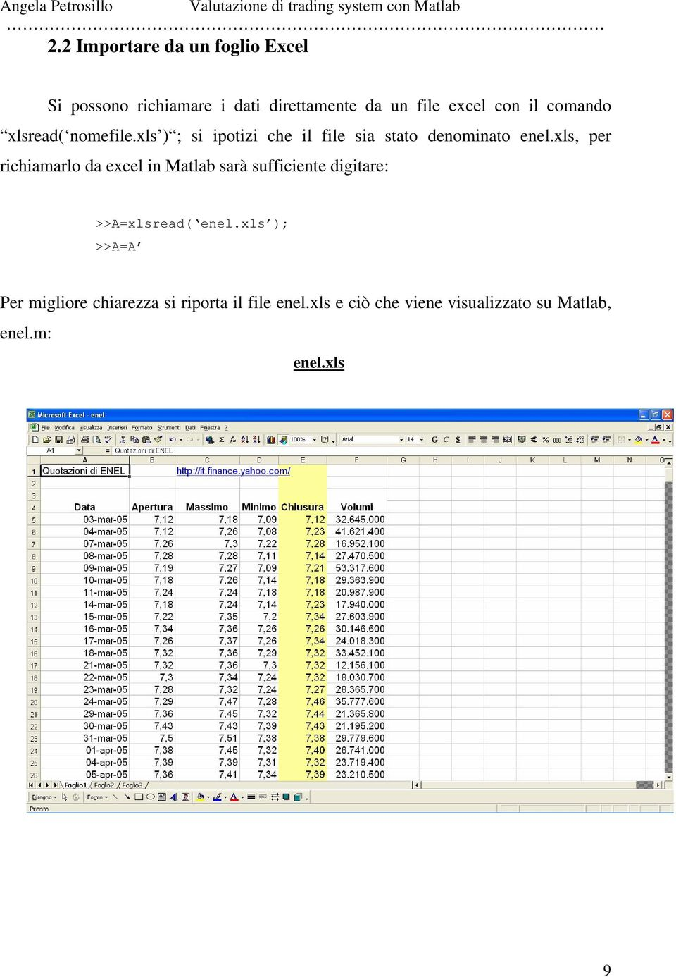 xls, per richiamarlo da excel in Matlab sarà sufficiente digitare: >>A=xlsread( enel.