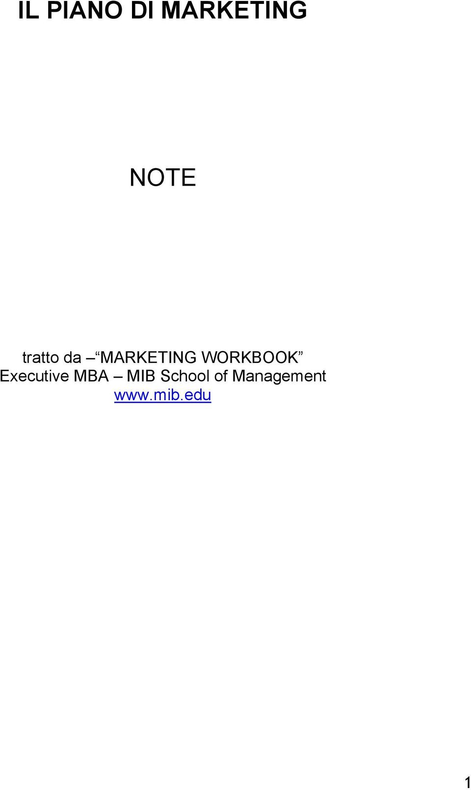 WORKBOOK Executive MBA MIB