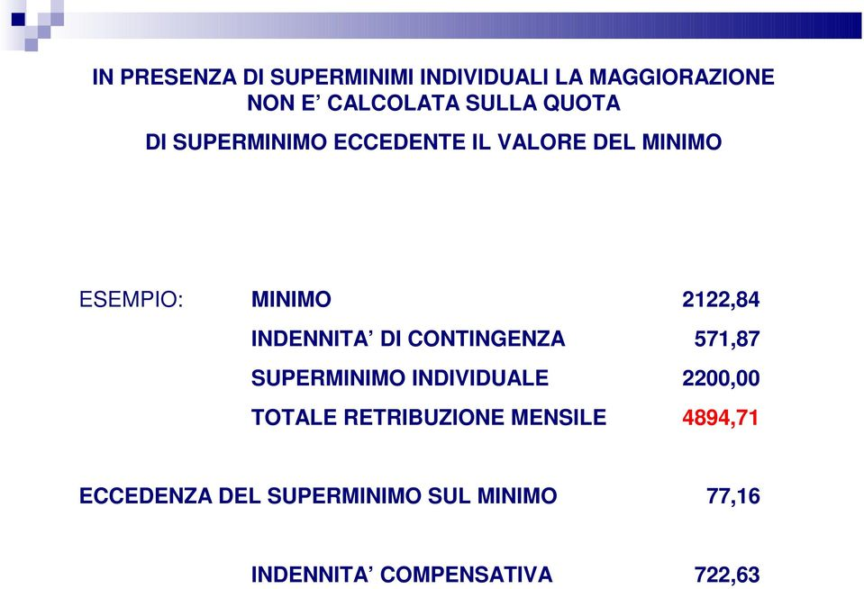 INDENNITA DI CONTINGENZA 571,87 SUPERMINIMO INDIVIDUALE 2200,00 TOTALE