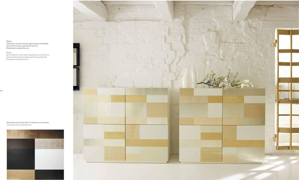 Dimensioni 140x50xh124 cm Madia Spot Collection, matt cream lacquered structure that can