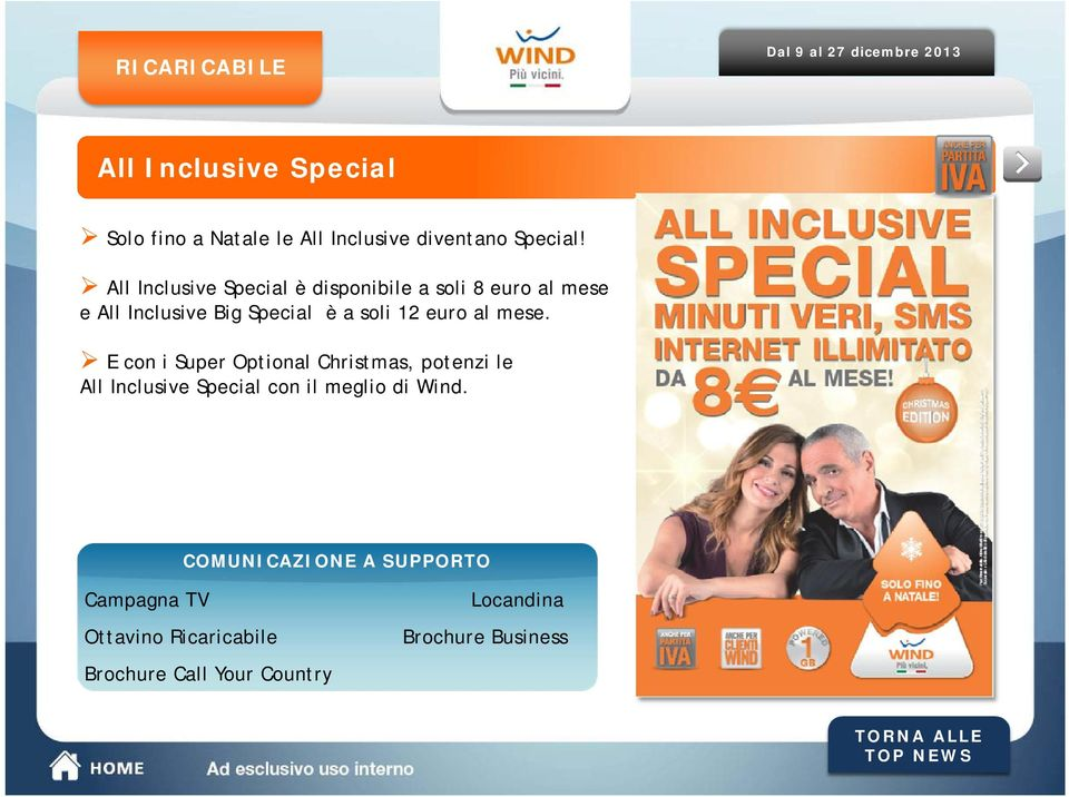 al mese. E con i Super Optional Christmas, potenzi le All Inclusive Special con il meglio di Wind.