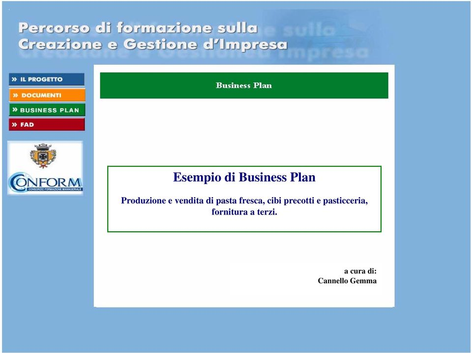 esempio business plan pasta fresca
