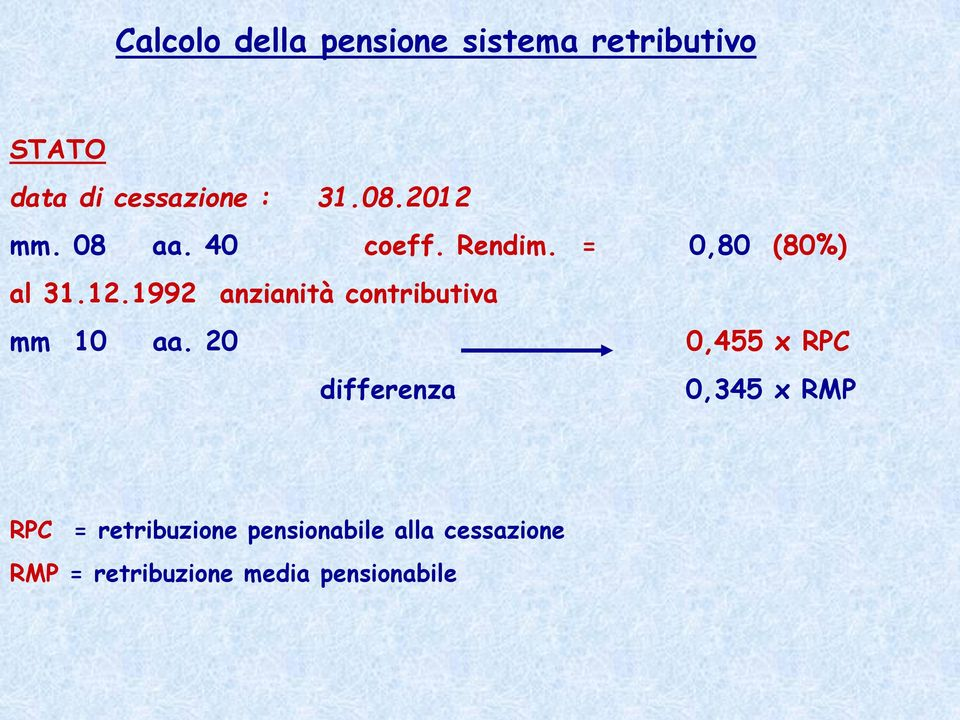 20 0,455 x RPC differenza 0,345 x RMP RPC = retribuzione pensionabile