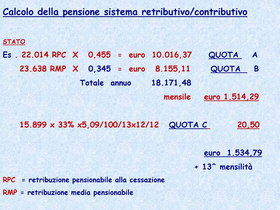 155,11 QUOTA B Totale annuo 18.171,48 mensile euro 1.514,29 15.