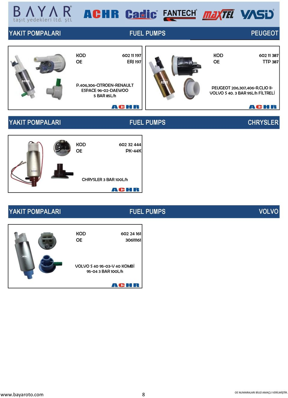 3 BAR 95L/h FİLTRELİ YAKIT POMPALARI FUEL PUMPS CHRYSLER 602 32 444 PK-44K CHRYSLER 3 BAR 100L/h YAKIT