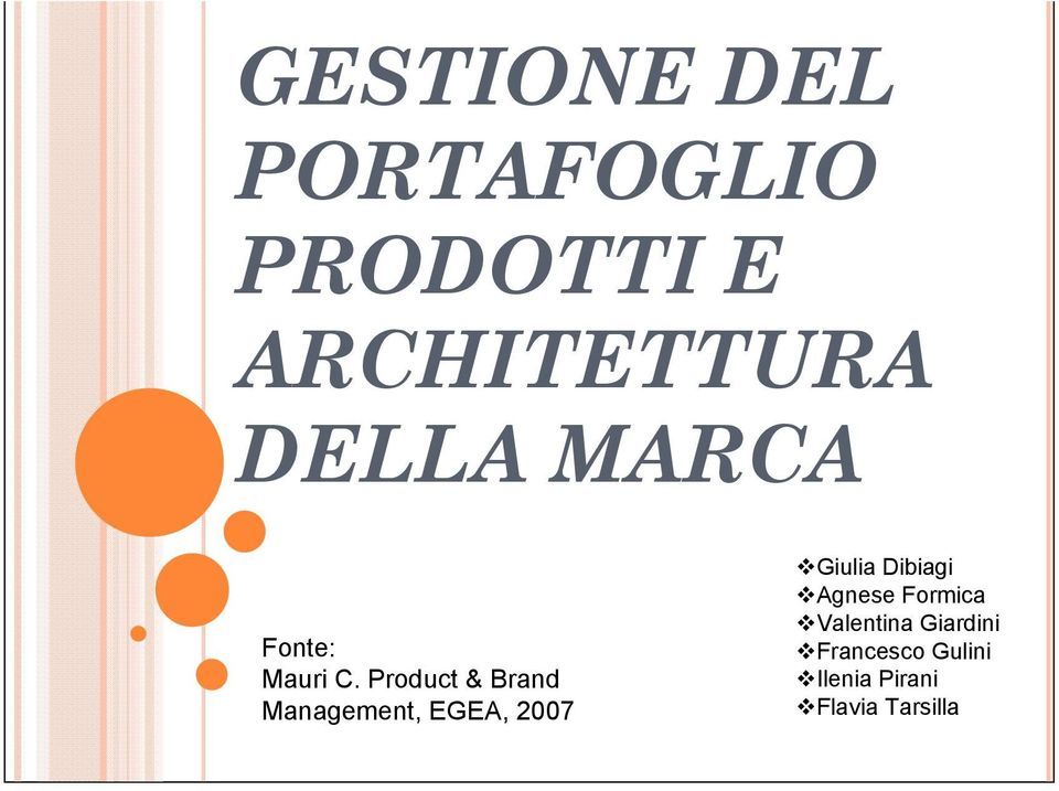 Product & Brand Management, EGEA, 2007 Giulia