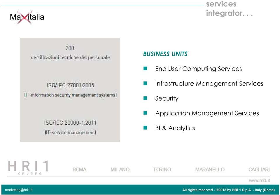 Services Infrastructure Management
