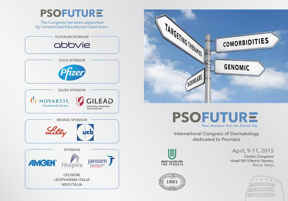 City International Congress of Dermatology dedicated to Psoriasis Sponsor April, 9-11,