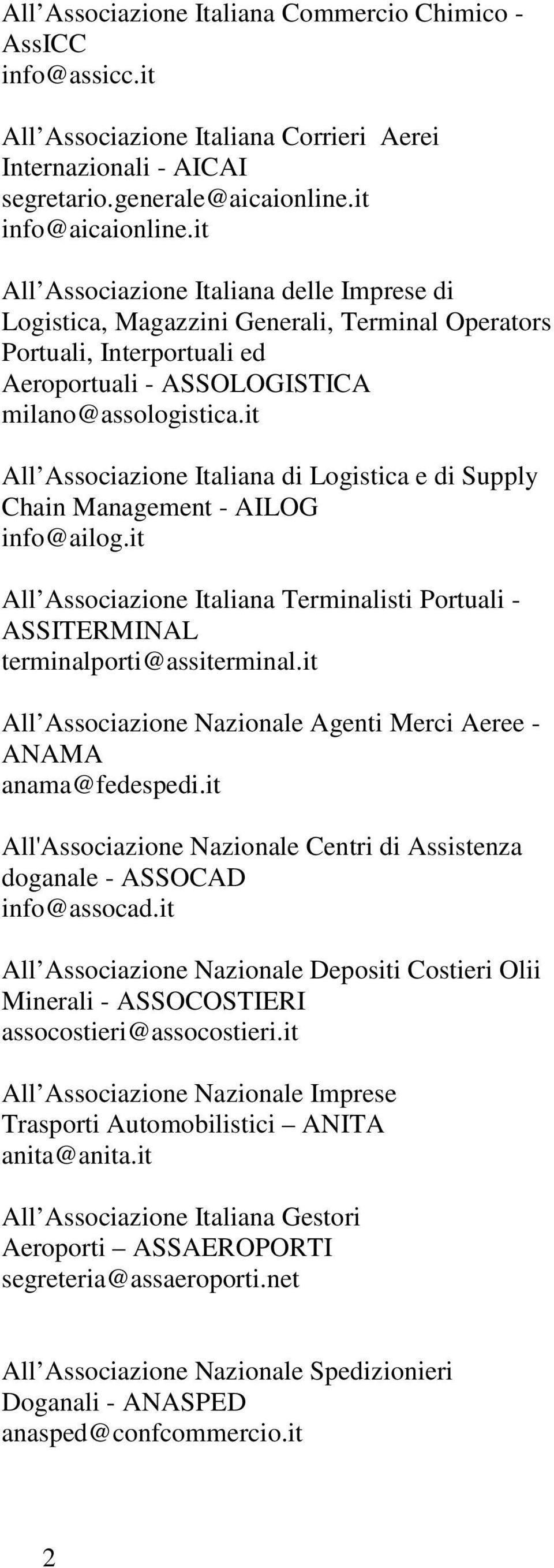 it All Associazione Italiana di Logistica e di Supply Chain Management - AILOG info@ailog.it All Associazione Italiana Terminalisti Portuali - ASSITERMINAL terminalporti@assiterminal.