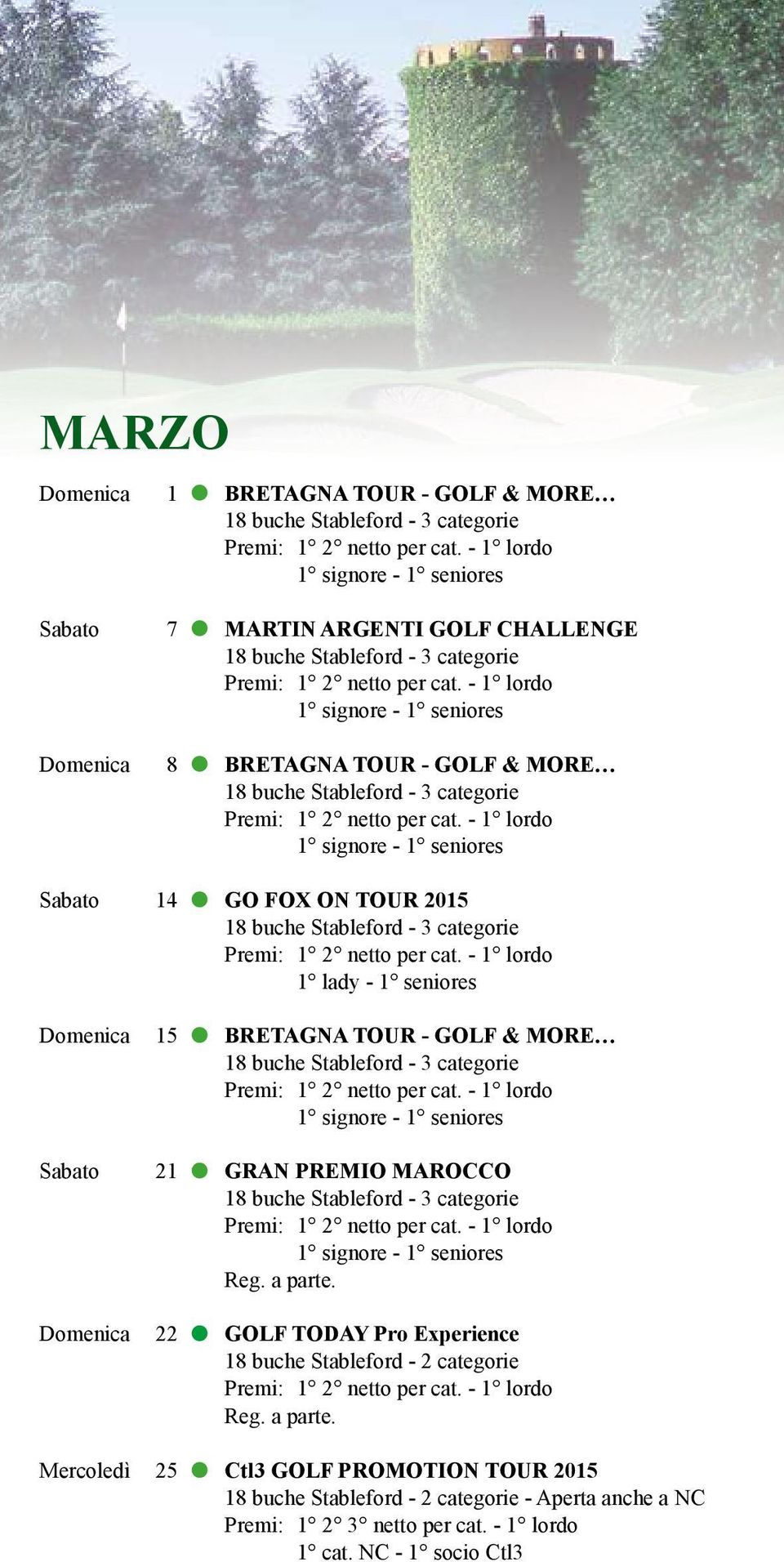 MAROCCO Domenica 22 GOLF TODAY Pro Experience 18 buche Stableford - 2 categorie Mercoledì 25 Ctl3 GOLF PROMOTION TOUR