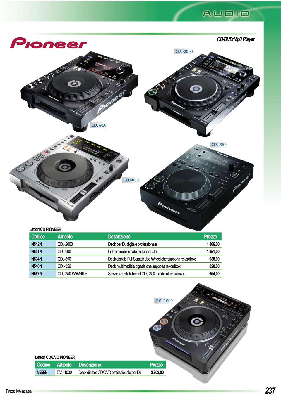 351,00 N564N CDJ-850 Deck digitale,full Scratch Jog Wheel che supporta rekordbox 938,00 N540N CDJ-350 Deck multimediale digitale