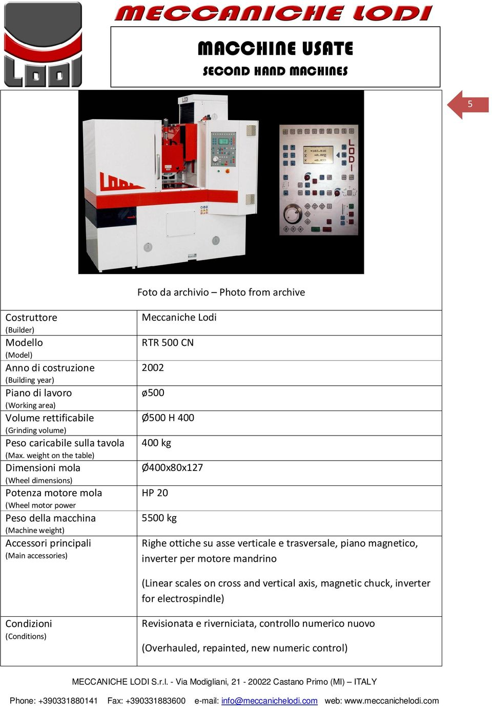 inverter per motore mandrino (Linear scales on cross and vertical axis, magnetic chuck, inverter for