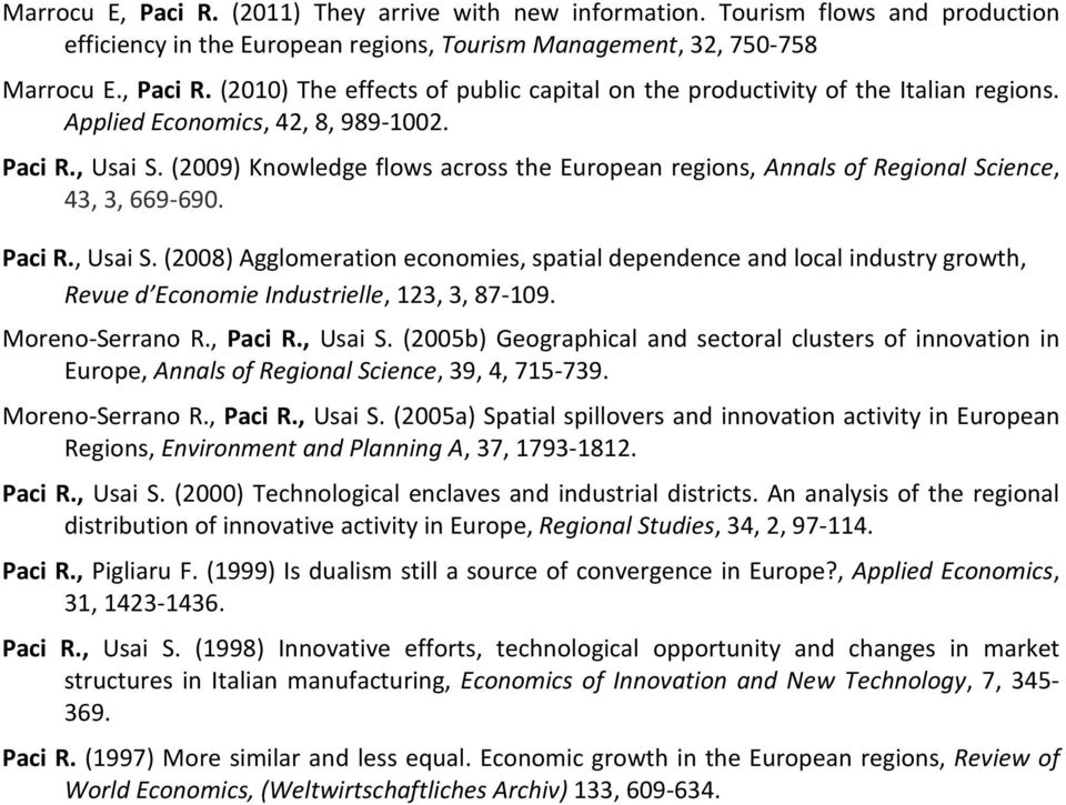 Moreno-Serrano R., Paci R., Usai S. (2005b) Geographical and sectoral clusters of innovation in Europe, Annals of Regional Science, 39, 4, 715-739. Moreno-Serrano R., Paci R., Usai S. (2005a) Spatial spillovers and innovation activity in European Regions, Environment and Planning A, 37, 1793-1812.
