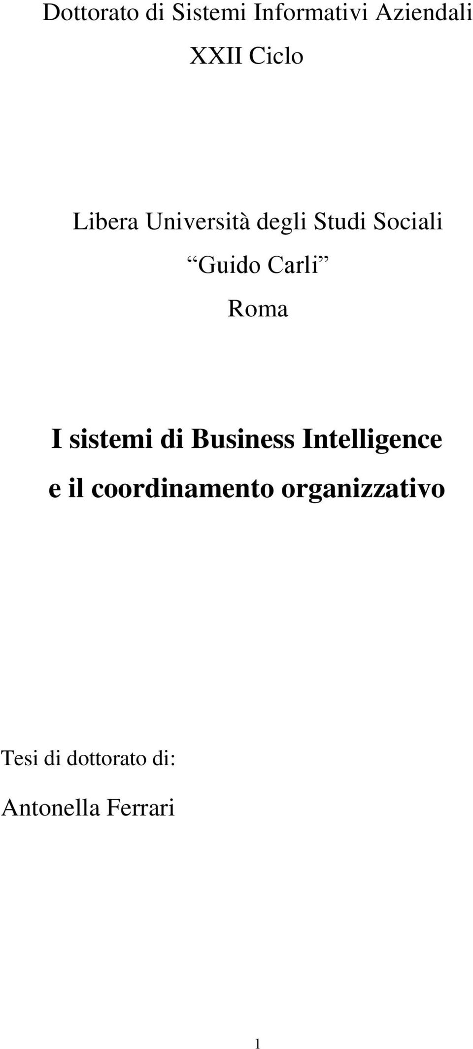 I sistemi di Business Intelligence e il coordinamento
