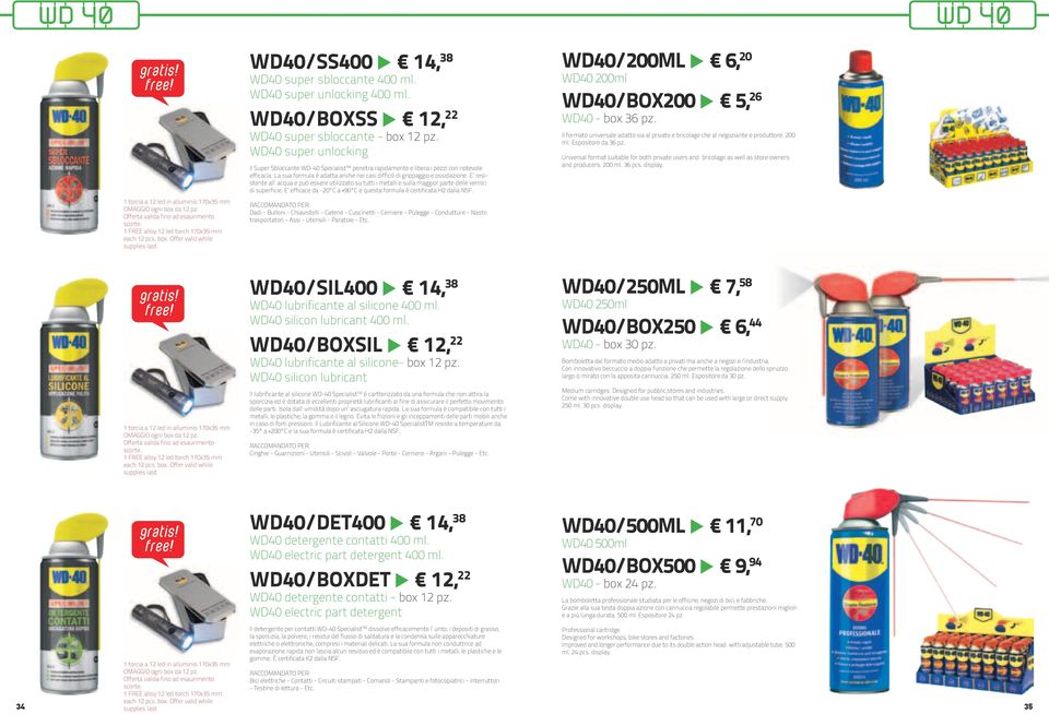 WD40 super unlocking 400 ml. WD40/BOXSS 12, 22 WD40 super sbloccante - box 12 pz.
