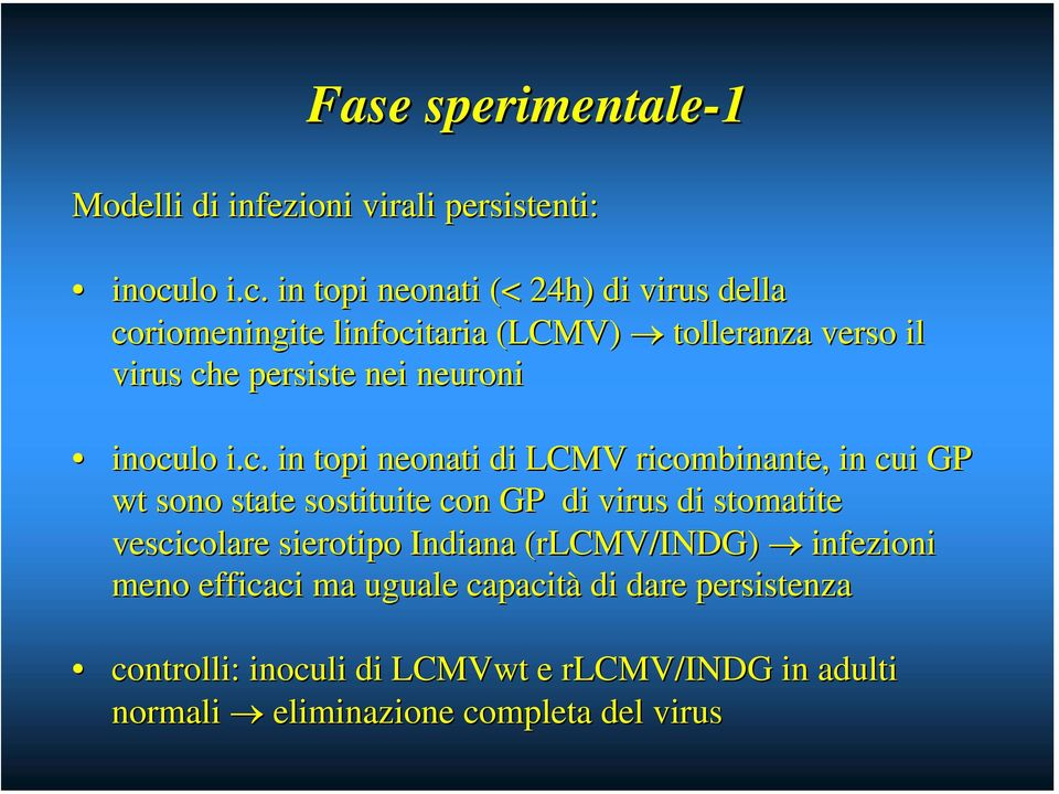 in topi neonati (< 24h) di virus della coriomeningite linfocitaria (LCMV) tolleranza verso il virus che persiste nei neuroni